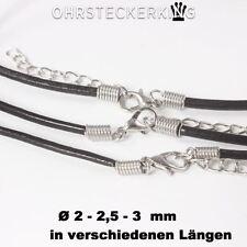 Lederkette / Echt Rind-Lederband Ø 2/2,5/3  mm, schwarz in verschiedenen Längen