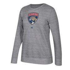 Florida Panthers Adidas Team Logo Graphite Heather Comfy Crew Sweatshirt Women's