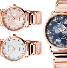 Damen Armbanduhr Perlmutt Rosegold Crystal 1800076 von Excellanc in 3 Varianten