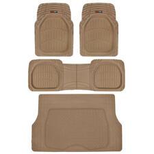 4pc Beige Car Floor Mats Set Rubber Tortoise Liners w/ Cargo for Auto SUV Trucks