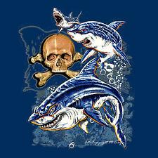 * Hai Shark Surfer Totenkopf Surfschule Skull Taucher Fischen T-Shirt  *3215