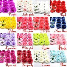 100 X 4cm Fake Artificial Silk Rose Heads Flower Buds Home Bouquet Wedding Decor