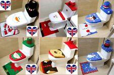UK Stock Christmas Xmas Decoration Toilet Seat Cover, Rug & Tissue Box Cover Set