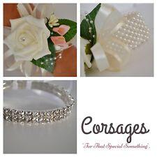 Wrist rose corsage with calla lily babies breath. Diamante/pearl/ribbon bracelet