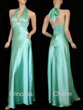 Princess Charm Cyan Formal Halter Dress Size 8 10 12 14 16 18 20 New