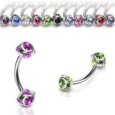 Multi CZ Ball Lip Rook Snug Piercing Curve Barbell Eyebrow Ring 16G