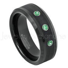 Beveled Tungsten Ring 0.21ctw Tsavorite 3-Stone Ring, January Birthstone #663