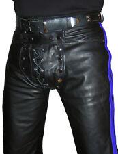 Lederhose schwarz blau Hose gay Lederjeans NEU Cod piece leather pants trousers