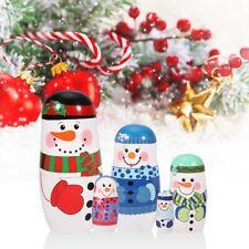 Santa Claus & Snowman Christmas New Year Matryoshka Russian Nesting Dolls 5Pcs