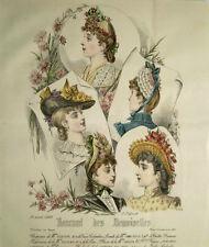 GRAVURE COULEURS MODE FEMININE CHAPEAUX COIFFES PRINTEMPS ETE AVRIL 1889