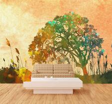 3D Multicolore Arbr Photo Papier Peint en Autocollant Murale Plafond Chambre Art