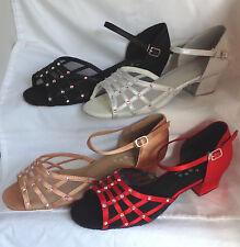 Ladies Black, Red, Tan, Silver Ballroom, Salsa, Latin Dance Shoes - UK Sizes 3-9
