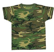 Kids Camouflage SHORT SLEVE BOYS T-Shirt, JUNIOR Woodland Camo  SIZE XS S M L XL