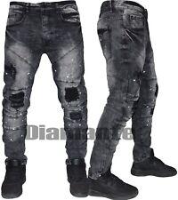 Jeans uomo Denim Biker Grigio vintage pittati pantaloni slim elasticizzati 2092
