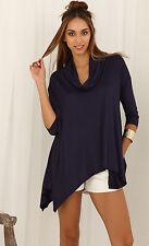Cowl Neck Asymmetrical Top S 8 10 Blue 3/4 Sleeve Stretch Short Dress Blouse Hot