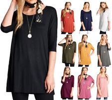 Women's Long Tunic Solid Scoop Neck Top Short Sleeve Trapeze Dress Loose Shirt