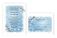 100 Personalized Custom Elegant Snowflake Winter Bridal Wedding Invitations Set