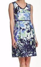 Nine West Iris Pistachio Denim Blooms Stretch Cotton V-Neck Dress w/Pockets  $89