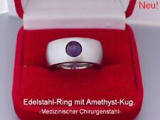 Neuer Edelstahl Ring Silber Damen Perlen Kugel drehbar Amethyst Lila Bandring 10
