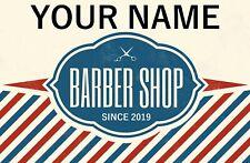 Custom Personalised Barber Shop Name & Since Door Metal Aluminium Sign Plaque