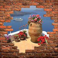 Sticker mural trompe l'oeil mur de pierre déco La Grèce belle vue réf 877