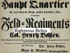 Civil War 75th Pennsylvania German Philadelphia PA Regt Recruitment Poster PRINT