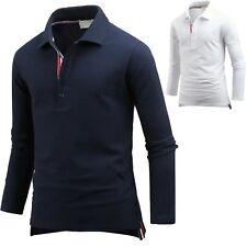 New Mens Dandy Stripe Cotton Long Sleeve T-Shirts Polo PK Casual Top W14 XS-XL