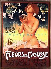 Fleurs de Mousse 1898 French Perfume Vintage Poster Print Ladies Decor Art