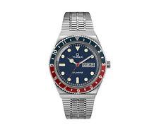 Timex Q Reissue 38mm Stainless Steel Bracelet Silver/Blue/Red Watch TW2T80700ZV