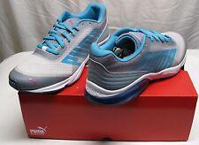 PUMA Men's Powertech Defier Fade Running Shoe,White/Tradewinds/Bluebird NEW
