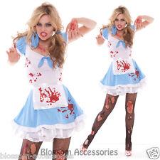 I85 Zombie Bloody Mad Alice in Wonderland Fancy Dress Horror Halloween Costume