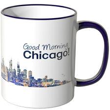"""WANDKINGS Tasse, Schriftzug """"Good Morning Chicago!"""" mit Skyline bei Nacht"""