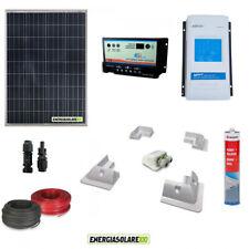 Kit fotovoltaico camper pannello solare 100W 200W regolatore doppia batteria 12V
