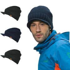 Warm Men's Winter Wool Blend Visor Brim Beanie with Bill Knit Baseball Cap Hat