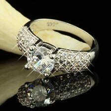 Damenring Solitair mit Akzent 925 Sterling Silber plattiert Zirkonia weiß R2225