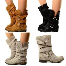 Damen Sommer Stiefel Echtleder Vintage Perforiert Biker Boots Made in Italy 202f