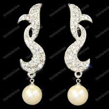 6cm Large Clip On CRYSTAL&PEARL EARRINGS silver glass rhinestone GOLD FASHION