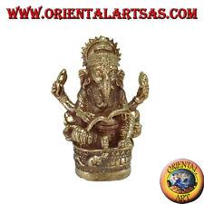 Statua di Ganesh che scrive il Mahabharata in ottone