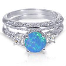 Oro Bianco Argento Sterling Rotondo Blu Opale di Fuoco Matrimonio Fidanzamento