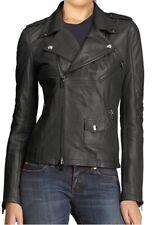 Women Leather Jacket Soft Solid Lambskin New Handmade Motorcycle Biker S M # 69