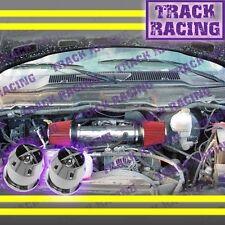 DUAL 04-11 DODGE DAKOTA/DURANGO/RAM/NITRO V6 TWIN AIR INTAKE KIT+CHF Black Red