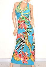 ABITO LUNGO vestito donna AZZURRO CORALLO strass sexy elegante da cerimonia E170