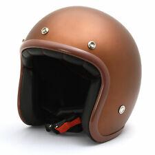 Helm Cougar Mattgold mit braunem Rand, Jethelm, Open Face Helmet Flat Gold