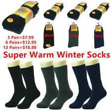(Thermal) 3-12 Pairs Lot Mens Winter Warm BOOTS Wool Cotton Crew Socks 9-13