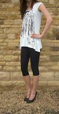 Knee Length Leggings Viscose Elastane Black Size 6-22