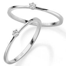 Weißgold Gold 585 Brillant 0,05 ct Frauen Verlobungsring Solitär Antrags Ring