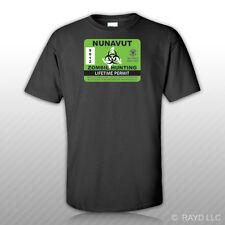 Nunavut Zombie Hunting Permit T-Shirt Tee Shirt Free Sticker Canada nu