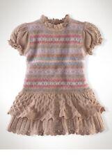 Nuevo Ralph Lauren Grecas Alpinas Punto Vestido Crochet Fruncido Niña Rosa Beis