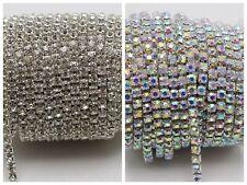 2-row/3-row/4-row/5-row crystal rhinestone trims chain silver Clear AB ss16