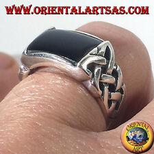 Anillo de plata 925 ‰ ónix y el nudo celta perforado